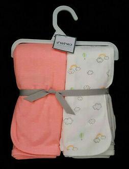 Carters Babysoft Swaddle Blankets - Cloud Print/Peach - 2 ct