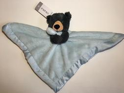 Carters Black Bear Blue Security Blanket Plush Satin Baby Lo