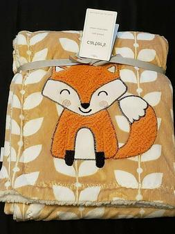 CARTERS Brand New Orange Fox Sherpa Baby Blanket | 40 X 30 i