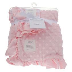 Carters Child of Mine Baby Blanket Pink Minky Satin Ruffle o