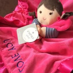 Carters GIRL DOLL Lovey I LOVE YOU Hot Pink SECURITY BLANKET