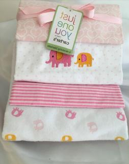 CARTERS INFANT BABY GIRL RECEIVING BLANKETS, SET OF 4 NEW WI