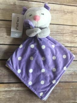 Carters Lovey Security Blanket Plush Owl Gray Purple Dot Whi