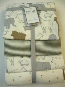 Carters 4-Pack Receiving Blanket Animals & Stars Gray