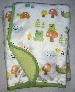 Carters Turtle Frog Mushroom Baby Blanket Green Sherpa New N