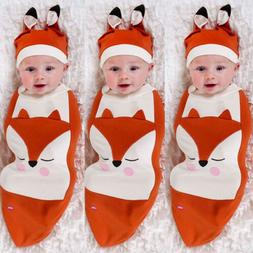 Cartoon Fox Newborn Baby Girl Boy Swaddle Wrap Blanket Sleep