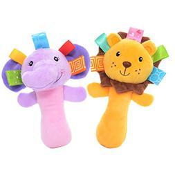 Lazada Cartoon Lion Elephant Soft Plush Hand Rattle Baby Gir