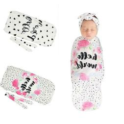 Cartoon Print Headband & Swaddle Blanket Set Newborn Baby So