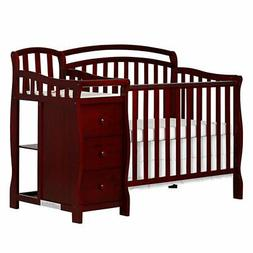 Casco 4 in 1 Mini Crib and Dressing Table Combo, Cherry