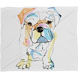 Deny Designs Casey Rogers Bulldog Color Fleece Throw Blanket