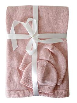Frost Hats Cashmere Baby Blanket and Hats Set Pink