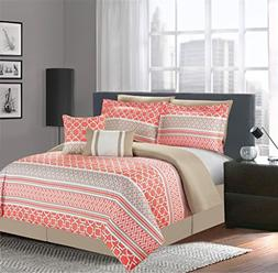 Luxury Home 7-Piece Central Park Coral Comforter Set, King,