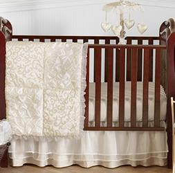 Champagne and Ivory Victoria Baby Bedding 4 Piece Girl Crib