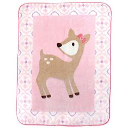 Luvable Friends Character High Pile Blanket, Pink Deer, 30x3
