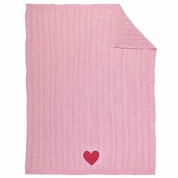 Sadie & Scout Chelsea - Pink Knit Blanket with Heart