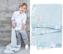 """LITTLE GIRAFFE Chenille Baby BLANKET 29"""" x 35"""" Blue Satin Tr"""