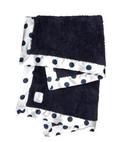 Little Giraffe Chenille New Dot Baby Blanket, Denim