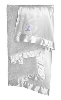 Little Giraffe Chenille Satin Baby Blanket, Silver