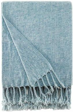Chenille Throw Blanket with Decorative Fringe for Couch Sofa