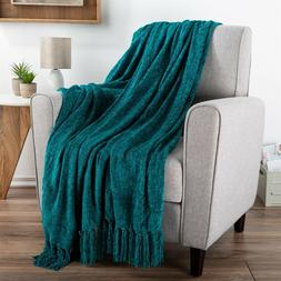 Chenille Throw Oversized 70 x 60 Soft Shiny Fringe Couch Cha