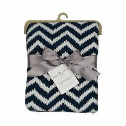 Living Textiles Chevron Chenille Baby Blanket - Navy
