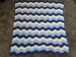 Chevron Crocheted Baby or Toddler Blanket/Afghan - Med Blue,