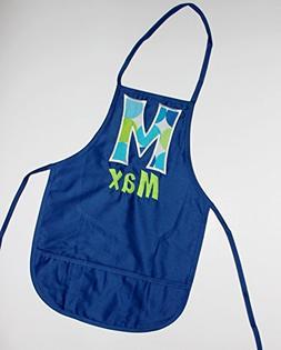 Child Size Blue Apron with Name and Initial, Kids Apron, Tod