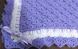Christening Baby Blanket Lavender / white trim afghan Newbor
