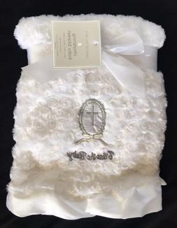 Christening Blanket Satin Ruffle 'BLESS the BABY' White Rose