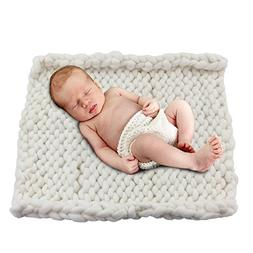 """Play Tailor 19.6""""x19.6"""" Chunky Knit Blanket for Newborn Baby"""