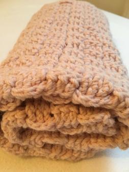 Chunky yarn, crochet dusty pink, baby, child, blanket, throw