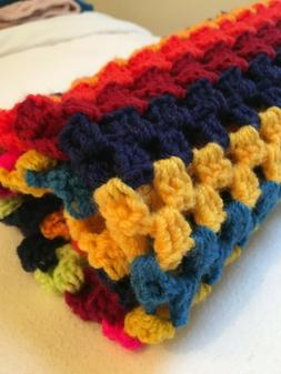 Chunky yarn, crochet multi colour, baby, child, blanket, thr