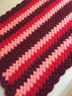 Chunky yarn, crochet shades of pink, baby, child, blanket, t