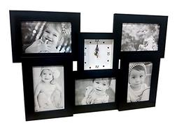 """Clock picture frame collage, Black, Holds 5 4"""" by 6"""" prints"""