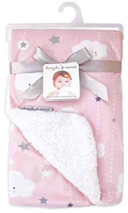 Blankets & Beyond Clouds and Stars Pink Baby Blanket