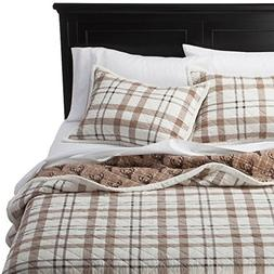 Cody Natural Sherpa Reversible Quilt Set KING -Brown Plaid/D