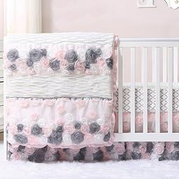 Colette Pink and Grey Floral 3 Piece Crib Bedding Set by The