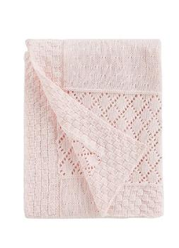 Edgehill Collection Baby Knit Patchwork Blanket Pink  -  See