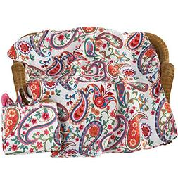 "Colorful Paisley and Floral 50"" x 60"" Picnic Blanket with Ea"