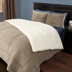 Comforter Set Queen Full Size Sherpa Fleece 3 Piece Taupe