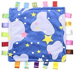 Comforting Soft Stars and Clouds Baby Blanket with Satin Tag
