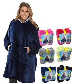 Soft Hoodie Sherpa Fleece Blanket Sweatshirt Large Pocket Re