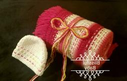 Comfy-Striped-Baby-Afghan-Blanket-Throw & Cap Set -Quality-H