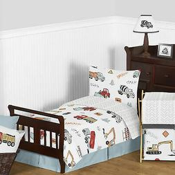 Construction Truck Boy Red and Blue Toddler Comforter Beddin