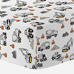 Carousel Designs Construction Trucks Crib Sheet - Organic 10