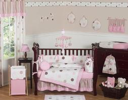 Sweet Jojo Designs 9-Piece Contemporary Pink and Brown Moder