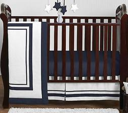 Contemporary White and Navy Modern Hotel Baby Boy Girl Unise