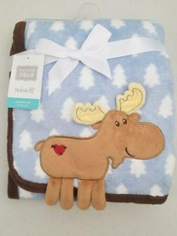 Hudson Baby Coral Fleece 3D Animal Blanket, Blue