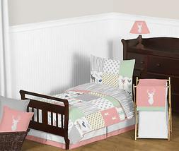 Sweet Jojo Coral Grey White Girl Toddler Children Sheets Woo