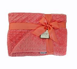 MEG Original Coral Minky Dot Baby Girl Crib/Nursery Blanket